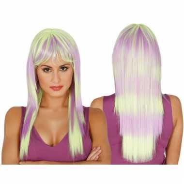 Dames pruik lang haar paars/groen