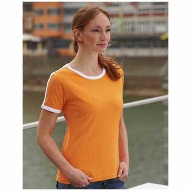 Dames shirtje oranje met wit
