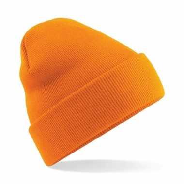 Dames winter schaatsmuts oranje