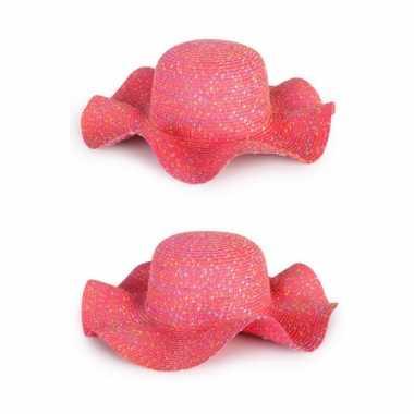 Dames zomer flap hoed roze