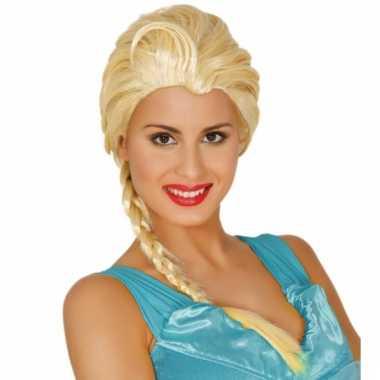 Damespruik blond met vlecht