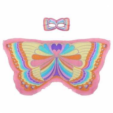 Dans regenboog roze vlindervleugels voor kinderen