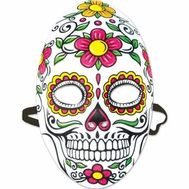 Day of the dead sugarskull halloween gezichtsmasker voor dames