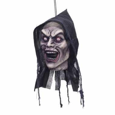 Deco horror afgehakt zombie hoofd met capuchon