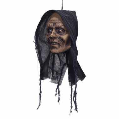 Deco horror afgehakt zombie vrouwenhoofd met capuchon