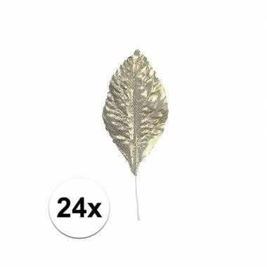 Decoratie bladeren goud 24 stuks