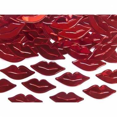 Decoratie confetti rode lippen van plastic 15 gram