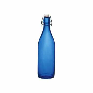 Decoratie fles blauw 1 liter