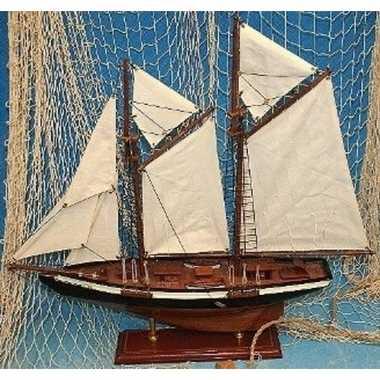 Decoratie houten model tweemaster zeilschip 50 cm