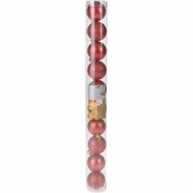 Decoratie kerstballen mix rood lovely classics 10 stuks