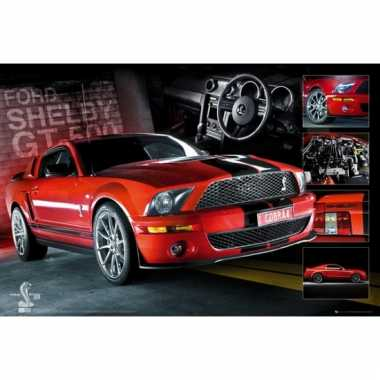 Decoratie poster rode ford mustang gt-500 61 x 91,5 cm