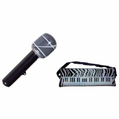 Decoratie set opblaasbare keyboard en microfoon