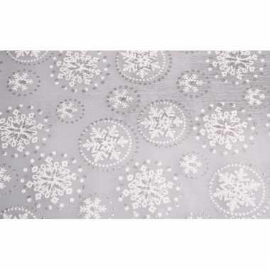Decoratie stof zilver sneeuwvlok met glitters 30 x 270 cm