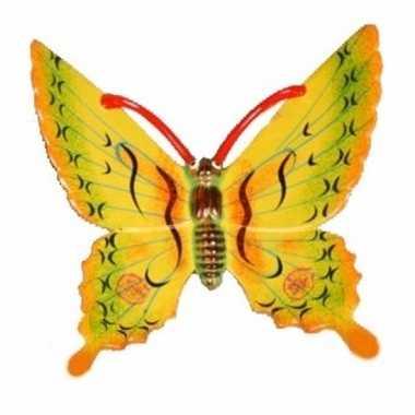 Decoratie vlinder geel 17 cm kunststof