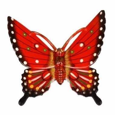 Decoratie vlinder rood 11 cm kunststof