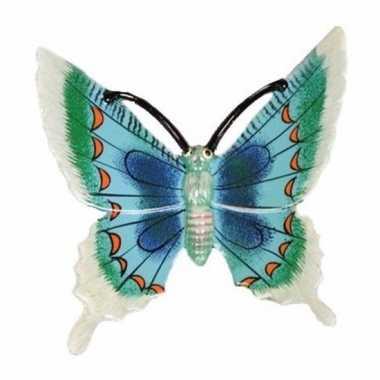 Decoratie vlinder wit/blauw 17 cm kunststof
