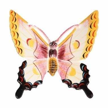 Decoratie vlinder wit/geel 17 cm kunststof