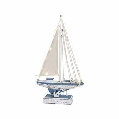 Decoratie zeilboot met led licht 43 cm