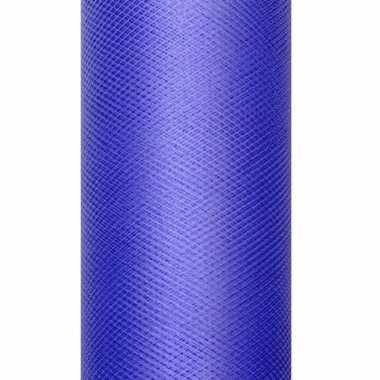 Decoratiestof tule blauw 50 cm breed