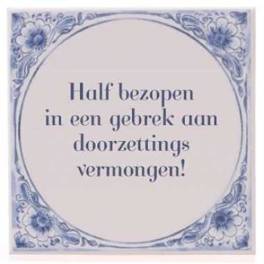 Delfts blauwe teksttegel bezopen