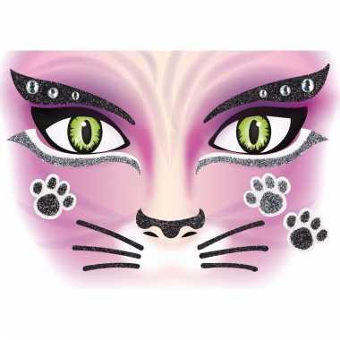 Dieren gezicht sticker poes/katten