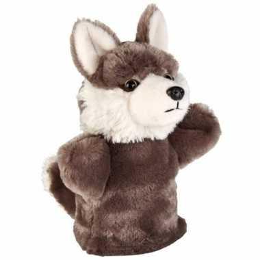 Dieren handpop wolf pluche 24 cm