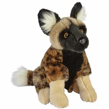 Dieren knuffels afrikaanse wilde hond bruin 28 cm