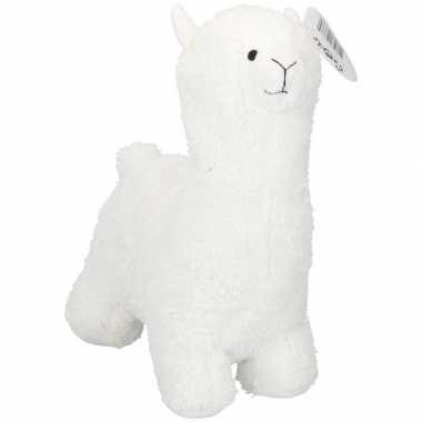 Dieren knuffels deurstopper alpaca/lama wit 35 cm