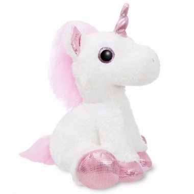 Dieren knuffels eenhoorn wit met roze