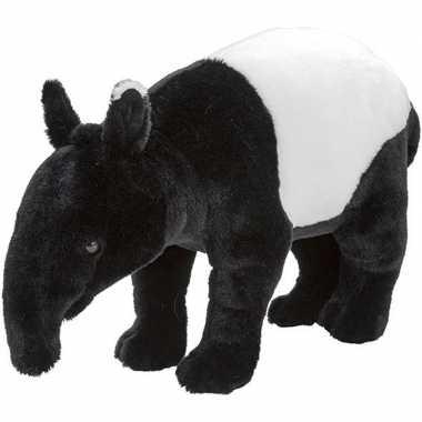 Dieren knuffels tapir zwart/wit 40 cm