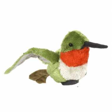 Dieren knuffels vogel kolibrie oehoe gekleurd 15 cm