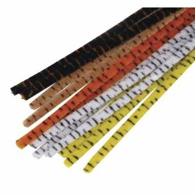 Dieren print pijpenragers 30 cm 25 st