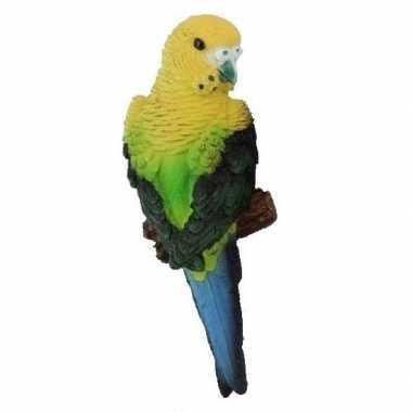Dierenbeeld grasparkiet geel/groen vogel 16 cm