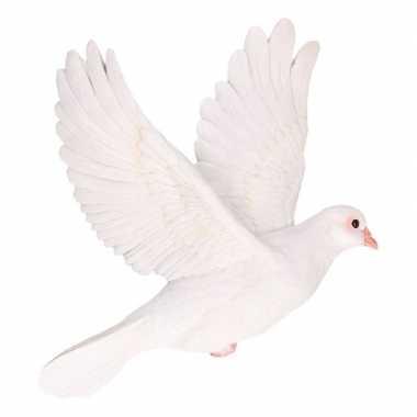Dierenbeeld witte duif vogel 29 cm