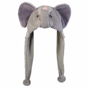 Dierenmuts olifanten met flappen pluche 18 cm