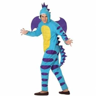 Dierenpak blauwe draak verkleedkostuum voor volwassenen