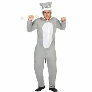 Dierenpak pit bull hond verkleed kostuum grijs voor volwassenen
