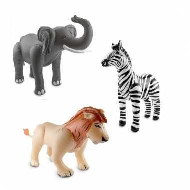 Dierentuin thema opblaasbare olifant leeuw en zebra