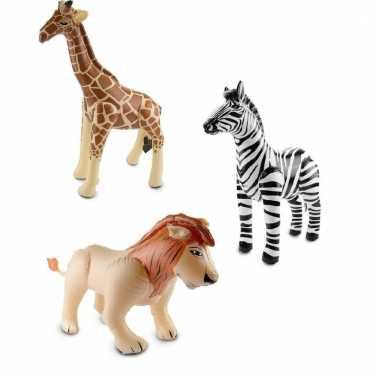 Dierentuin thema opblaasbare zebra leeuw en giraffe