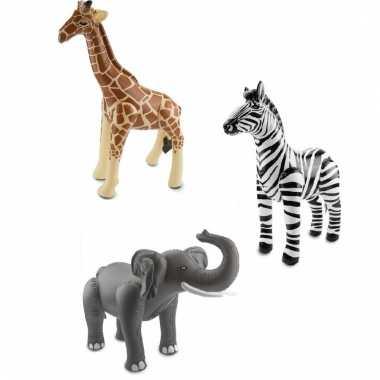 Dierentuin thema opblaasbare zebra olifant en giraffe