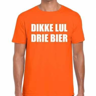 Dikke lul drie bier tekst t-shirt oranje heren