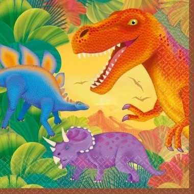 Dino themafeest servetten 16 stuks van papier/karton