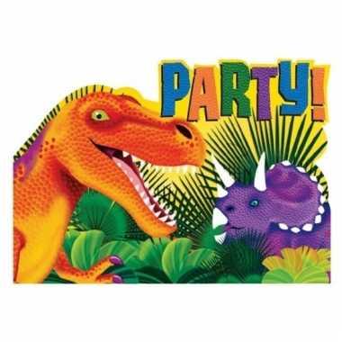 Dino themafeest uitnodigingen 8 stuks van papier/karton