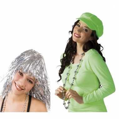 Disco accessoires verkleedset zilver voor dames