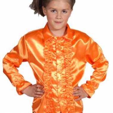 Disco blouse oranje voor kinderen