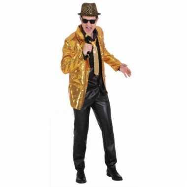 Disco colbert goud met pailletten