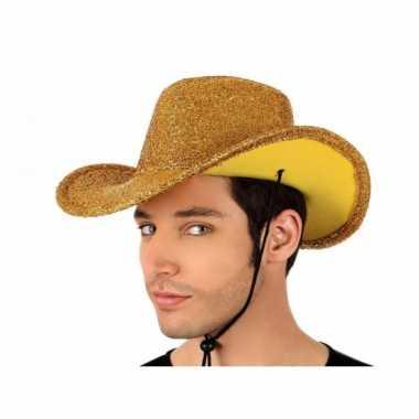 Disco cowboyhoed goud met glitters