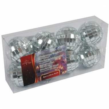 Disco kerstballen zilver 4 cm