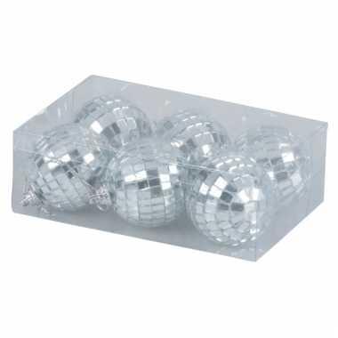 Disco kerstballen zilver 5 cm