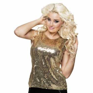 Disco verkleedkleding pailletten shirt goud